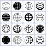 Jordklotsymbolsuppsättning stock illustrationer