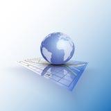 Jordklotvärld på diagrammet Abstrakt vektor stock illustrationer