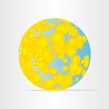 Jordklotvärldskarta med abstrakt energijord för gula blommor Arkivbild