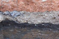 Jordlager i underjordisk jord av vetenskap arkivbild