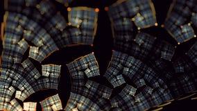 Jordnära guld- variation 3 för konst för fractal för glynblommaflamma stock illustrationer
