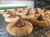 Jordnöt ButterCookies med choklad Arkivfoton