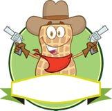 Jordnötcowboy Cartoon Label stock illustrationer
