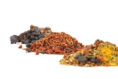 jordning överhopar olika kryddor Royaltyfri Foto