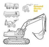 Jordning arbetar maskinmedel, svartvit skisserad sammansättning Utrustning för konstruktionsmaskineri Arkivfoto