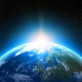 Jordplanet som beskådas från utrymme Arkivfoto