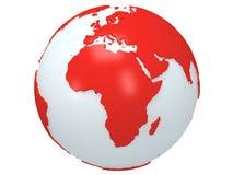 Jordplanetjordklot. 3D framför. Afrika sikt. Arkivbilder