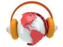 Jordplanetjordklot med headphonen. 3D framför. royaltyfri illustrationer