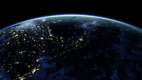 Jordrotation 360 grader Städer på natten Kretsad animering Video som är klar för din sol HD 1080 royaltyfri illustrationer