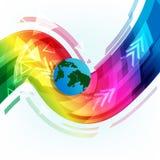 Jordrullning till framtid på slät spektrumwa för digital teknologi royaltyfri illustrationer