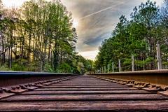Jordsikt av gamla spår för stångväg Fotografering för Bildbyråer