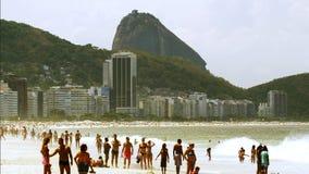 Jordsikt på den Copacabana stranden Arkivfoto