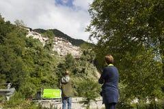 Jordskalvskada i Pescara del Tronto, Italien Arkivbilder