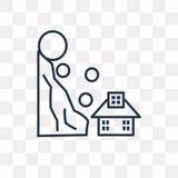 Jordskred- och husvektorsymbol som isoleras på genomskinlig backgrou stock illustrationer