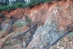 Jordskred på berg Royaltyfria Bilder