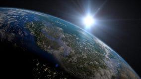 Jordsoluppgång över Europa royaltyfri illustrationer