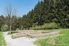 Jordväggar av det tidigare romerska fortet Feldberg i Taunusen, Tyskland Royaltyfri Bild