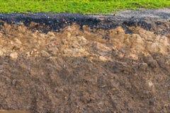 Jordyttersida under vägen eroderades Royaltyfri Bild