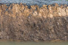 Jordyttersida under vägen eroderades Royaltyfri Fotografi
