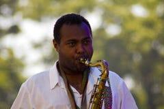 Jorga Mesfin plays saxophone Stock Images