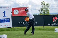 Jorge Berendt in action at the SSE Senior Open Wales 2015. Argentinian golfer at the SSE Senior Open 2015 at the Celtic Manor Resort Hotel Wales teeing off on Stock Images