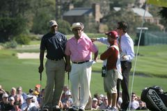 Jorge Lopez and samuel Jackson, Pebble Beach 2006 Royalty Free Stock Images