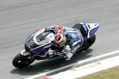 Jorge Lorenzo of Italy takes a corner Stock Image