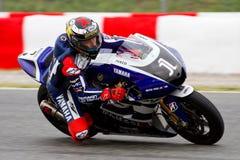 Jorge Lorenzo racing at Catalonia Circuit Stock Photo