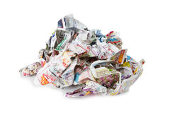 Jornais amarrotados isolados em um branco Fotos de Stock Royalty Free