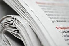 Jornal alemão rolado Foto de Stock Royalty Free
