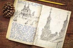 Jornal da expedição do vintage na madeira rústica imagens de stock royalty free