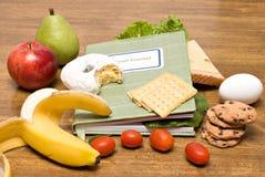 Jornal do diário do alimento imagens de stock
