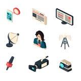 Jornal do journalista e coleção dos ícones da profissão do jornalismo da tevê Fotos de Stock