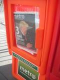 Jornal do metro, título do trunfo, NYC, NY, EUA Foto de Stock