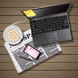 Jornal e telefone celular com arte e portátil do latte ilustração stock