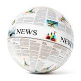 Jornal no globo imagens de stock royalty free
