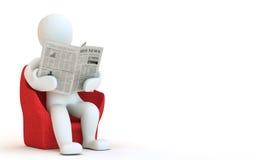 jornal reding do caráter 3D Fotografia de Stock