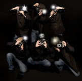 Jornalistas fotográficos retros dos paparazzi do estilo Foto de Stock Royalty Free
