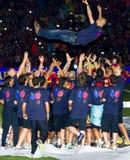 José Guardiola y jugadores de FC Barcelona Imágenes de archivo libres de regalías