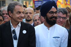 José Luís Rodriguez Zapatero at manifestation against terrorism Stock Images