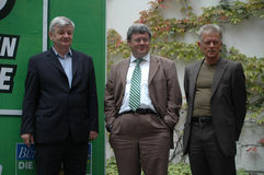 Joschka Fischer. AUGUST 25, 2005 - BERLIN: Joschka Fischer, Reinhard Buetikofer, Fritz Kuhn at the presentation of the election campaign of the Green Party for Stock Image