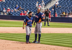 Jose Altuve Carlos Correa 2017 Houston Astros. March 26, 2017 - West Palm Beach, Florida : Jose Altuve and Carlos Correa of Houston Astros walks field during stock images