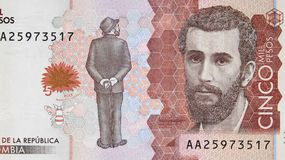 Jose Asuncion Silva portrait on Colombia currency 5000 peso 201. 6 banknote closeup, Colombian money close up Stock Image