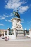 Jose brązowieję statuę w handlu kwadracie w Lisbon obraz royalty free