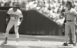 Jose Canseco et Don Mattingly photo libre de droits