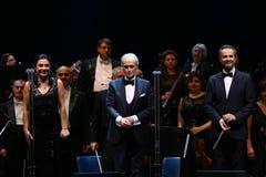 Jose Carreras med Nataliya Kovalova och David Gimenez arkivbild