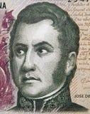 Jose de San Martin hace frente al retrato en la Argentina 5 Pesos 2013 clo Fotos de archivo libres de regalías