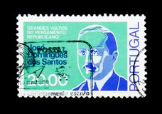 Jose Domingues dos Santos, Great Shades of Republican Thought serie, circa 1980. MOSCOW, RUSSIA - NOVEMBER 24, 2017: A stamp printed in Portugal shows Jose Stock Image