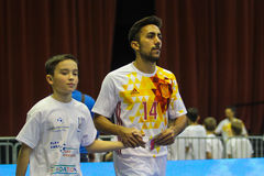 Jose A. Fernandez. KYIV, UKRAINE - JANUARY 29: Jose A. Fernandez ESP during a friendly futsal match between Ukraine and Spain in the Palace of Sports Kyiv on Royalty Free Stock Photography