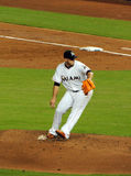 Jose Fernandez. Pitcher Jose Fernandez of the Miami Marlins pitching against the Los Angeles Dodgers in one of his last games Royalty Free Stock Photography